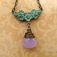 Garden Party necklace Patina jewelry lavender green flower necklace