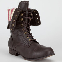 Bamboo Surprise Womens Boots Brown/Usa Flag  In Sizes