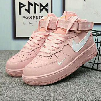AIR FORCE 1 AF1 Fashionable Women Leisure Pink High Tops Sport Shoes Sneakers