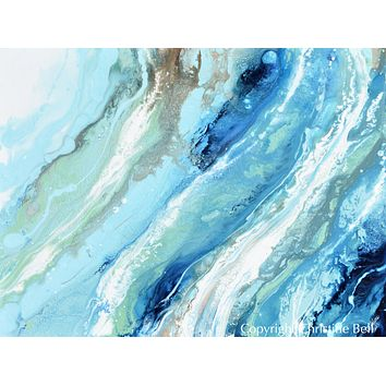 """Pacific Blue II"" GICLEE PRINT Art Blue White Turquoise Coastal Abstract Painting Horizontal Wall Art"