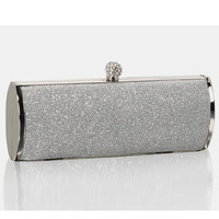 Silver Glitter Top Lock Barrel Clutch