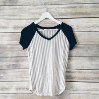Maisy Striped Baseball V Neck Tee