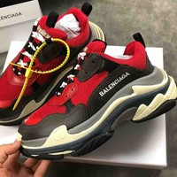 Balenciaga New fashion contrast sports shoes red