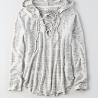 AEO Soft & Sexy Plush Lace-Up Hoodie, Black