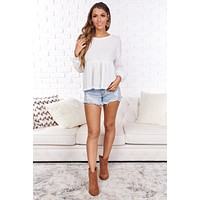 Winning At Life Bubble Sleeve Peplum Top (White)