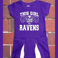Baltimore Ravens This Girl Loves the Ravens Purple Cheerleader Toddler dress. Football. Raven. Cheer. This Girl. 2T, 4T, 5/6T. Children.