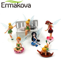 ERMAKOVA 6 Pcs/Set Flower Fairy Figurine Cartoon Angel Miniature Fairy Garden Landscape Ornament Fondant Cake Decor Baking Tool
