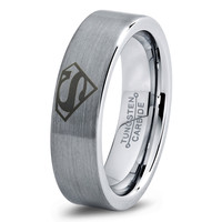 Superman Comics Ring Mens Fanatic Geek Sci Fi Jewelry Boys Girls Womens Superhero Superman Ring Fathers Day Gift Tungsten Carbide 128