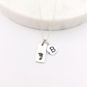Silver Initial & Footprint Charm Necklace