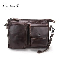Vintage Men Messenger Bags High Quality Soft Genuine Leather Large Capacity Travel Men Bags Dollar Price Handsome Man