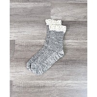Marled Crew Socks with Lace - More Colors