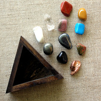 miniature tumbled stones and crystal point instant collection in handmade wood triangle box