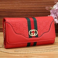 Gucci Women Leather Shopping Bag Chain Shoulder Bag Satchel Crossbody