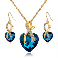 Gold Plated Jewel Crystal Necklace Earrings Jewelry Set Gift Valentine's Accessories