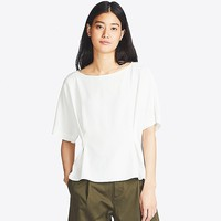 WOMEN DRAPE TUCK SHORT-SLEEVE T BLOUSE