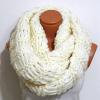 Knitted infinity Scarf Block Infinity Scarf. Loop Scarf, Circle Scarf, Neck Warmer. coffee and cream  Crochet Infinity