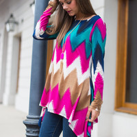 Chev It To Me Top, Magenta-Teal