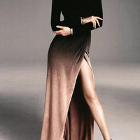 Ombre Pleuche Long Sleeve High Slit Maxi Dress