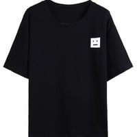 Black Smiling Square Face Print Short Sleeve T-shirt