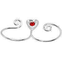 Sterling Silver 925 Light Siam Red CZ Heart Double Toe Ring   Body Candy Body Jewelry