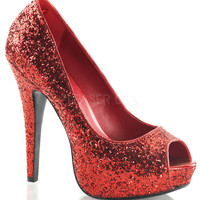 Twinkle Red Sparkle Slip On Pumps