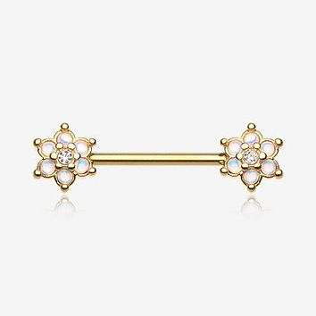 A Pair Of Golden Iridescent Revo Spring Flower Sparkle Nipple Barbell