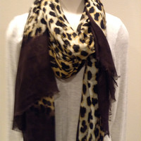 BLUE PACIFIC CASHMERE AND SILK RECTANGLE ANIMAL DIP SCARF