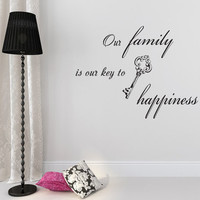 Family Wall Decals Quote Decal Family is Our Key to Happiness Vinyl Stickers Home Bedroom Living Room Decor T142