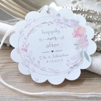Personalized Wedding Favor Tags Scalloped Floral Muted Pink and Purple Wedding Gift Tags Circle Hang Tags