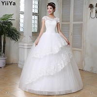 Free shipping wedding dresses 2015 white plus size lace wedding dress cheap short sleeves gowns frock Vestidos De Novia HS149