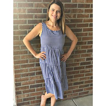 Blue and White Gingham Tiered Midi Dress