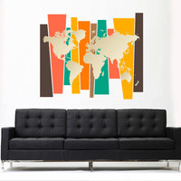 Full Color Wall Decal Mural Sticker Decor Art World Map Watercolor Water Paintings (col779)