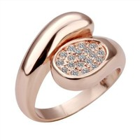 Gold Plated Ring Health Jewelry Nickel Free Golden Austrian Crystal Swarovski Elements, Size 8