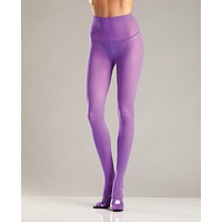 Opaque Nylon Pantyhose Purple O-s