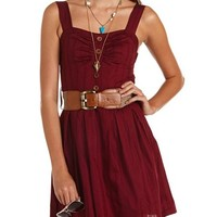 Crochet Belt A-Line Dress: Charlotte Russe