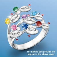 Personalized Birthstone Ring in Family Tree Design