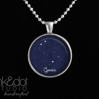 Gemini Constellation Pendant Necklace - Handcrafted