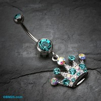 Crown Jewel Multi-Gem Belly Button Ring