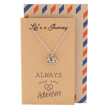 Pia It's a Journey Necklace with Scooter Charm, Graduation Gifts, with Motivational Quote