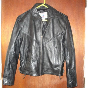 Womens Vintage Vanguard Heavy Leather Black Biker Motorcycle Jacket M Medium Made in USA