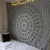 Tapestry Wall Hanging Black & White Elephant Mandala Hippie Hippy Tapestries Twin Indian Throw Beach College Dorm Bohemian Boho Bedsheet By Rajrang