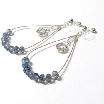 Swarovski Clear Channel Bezel Rhinestone D4S electroplated blue gray glass clip on earring dangle earring non pierced earring drop earring