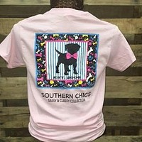 SALE Southern Chics Sassy Classy Collection Preppy Dog Puppy Bow Distressed Bright T Shirt