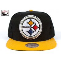 XL Logo 2T Snapback Hat Pittsburgh Steelers Mitchell & Ness Nostalgia Co.