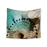 """Sylvia Coomes """"Ferris Wheel Silhouette"""" Beige Teal Wall Tapestry"""