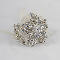 Crystal Lace Floral Bridal Great Gatsby 1920's Inspired Beaded Bracelet