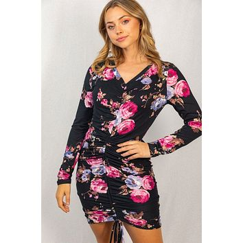 Break The Rules Black Floral Print Ruched Bodycon Dress
