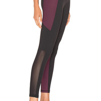 STRUT-THIS The Strut Pant in Black & Eggplant Dots & Mesh