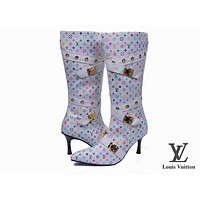 LV Louis Vuitton Fashion Pointed Toe Leather High Boot Heels Shoes I