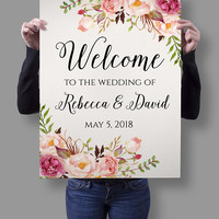 Floral Wedding Welcome Sign Template, Printable Boho Blush Pink Welcome Poster, Editable Reception Sign, Instant Download, Edit w/ Templett